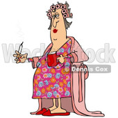 Clipart of a Fat White Woman in Curlers and a Robe, Smoking a Cigarette and Holding Coffee - Royalty Free Illustration © Dennis Cox #1237638