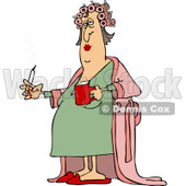 Clipart of a Fat Caucasian Woman in Curlers and a Robe, Smoking a Cigarette and Holding Coffee - Royalty Free Vector Illustration © djart #1237639