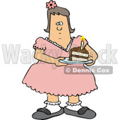 Clipart of a Fat White Girl Holding a Slice of Birthday Cake - Royalty Free Vector Illustration © djart #1237640