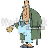 Clipart of a Chubby Man with a Cookie Coffee and Robe - Royalty Free Vector Illustration © djart #1237641