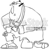 Clipart of a Black and White Man Kneeling in a Robe, Holding Coffee - Royalty Free Vector Illustration © djart #1238250