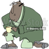 Clipart of a Black Man Kneeling in a Robe, Holding Coffee - Royalty Free Vector Illustration © djart #1238257