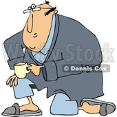 Clipart of a White Man Kneeling in a Robe, Holding Coffee - Royalty Free Vector Illustration © djart #1238258