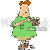 Clipart of a Chubby White Boy Eating a Cupcake - Royalty Free Vector Illustration © djart #1238259