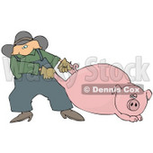 Male Farmer Pulling a Fat Pink Pig by the Hind Legs Clipart Picture © Dennis Cox #12387