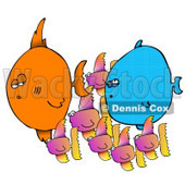 Small Fish Schooling Around Two Big Fishies Clipart Picture © Dennis Cox #12389