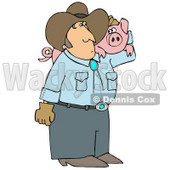 Male Farmer Carrying a Pet Pig on His Shoulder Clipart Illustration © djart #12390