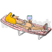 Relaxed Woman in a Bikini Sun Bathing on a Lounge Chair Clipart Picture © djart #12391