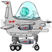 Clipart of a Man Astronaut Holding a Thumb up and Flying a Starship - Royalty Free Illustration © djart #1239286