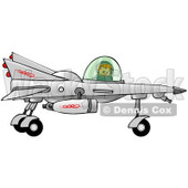 Clipart of a Boy Astronaut Flying a Star Fighter Jet - Royalty Free Illustration © djart #1239288