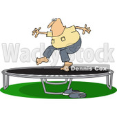 Clipart of a Chubby Caucasian Man Jumping on a Trampoline - Royalty Free Vector Illustration © djart #1239289