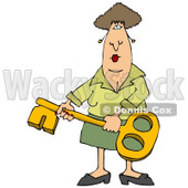 Woman Holding a Skeleton Key Clipart Illustration © djart #12394