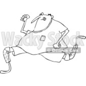 Clipart of a Black and White Man Running with an Artificial Prosthetic Leg - Royalty Free Vector Illustration © djart #1240164