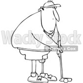 Clipart of a Black and White Golfing Man with an Artificial Prosthetic Leg - Royalty Free Vector Illustration © djart #1240165
