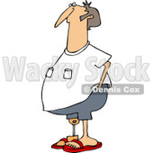 Clipart of a Chubby Causal Caucasian Man with an Artificial Prosthetic Leg - Royalty Free Vector Illustration © djart #1240172