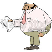 Clipart of a Black Business Man Holding Papers and Wearing a Pink Shirt - Royalty Free Vector Illustration © djart #1240175