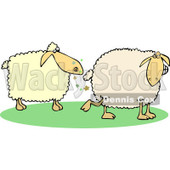 Clipart of a Sheep Farting in Another's Face - Royalty Free Vector Illustration © Dennis Cox #1240176