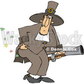 Clipart of a Male Pilgrim Holding a Blunderbuss and Farting - Royalty Free Vector Illustration © djart #1240177