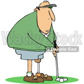Clipart of a Golfing Caucasian Man with an Artificial Prosthetic Leg - Royalty Free Vector Illustration © djart #1240180