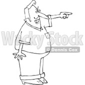 Clipart of a Black and White Mad Man Pointing - Royalty Free Vector Illustration © djart #1241016