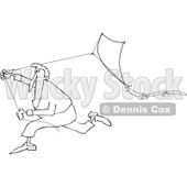 Clipart of a Black and White Man Running with a Kite - Royalty Free Vector Illustration © djart #1241018