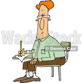 Clipart of a Red Haired Man Writing at a Desk - Royalty Free Vector Illustration © djart #1241023