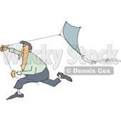Clipart of a Caucasian Man Running with a Kite - Royalty Free Vector Illustration © djart #1241024