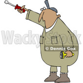 Clipart of a Hispanic Worker Man Pointing with a Nut Driver - Royalty Free Vector Illustration © djart #1241025