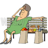 Clipart of a Tired White Woman Resting on a Bench by Grocery Bags - R
