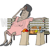 Clipart of a Tired Black Woman Resting on a Bench by Grocery Bags - Royalty Free Vector Illustration © djart #1241519