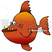 Mean Orange Pacu Pirhanna Fish With Sharp Teeth Animal Clipart Illustration © Dennis Cox #12417
