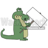 Green Alligator Holding a Blank Sign Clipart Illustration © Dennis Cox #12418