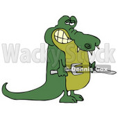 Hungry Green Alligator Holding a Knife and Fork Clipart Illustration © djart #12419