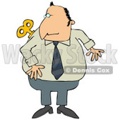 Man Looking Over His Shoulder at the Windup Key on His Back Clipart Illustration © Dennis Cox #12421