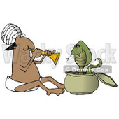 Male Indian Snake Charmer Man Playing Music For a Swaying Cobra in a Basket Clipart Illustration © djart #12423