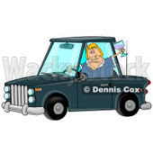 Tipsy Blond Woman Drinking and Driving Clipart Illustration © Dennis Cox #12424