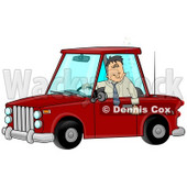 Man With an Extreme Buzz Driving While Intoxicated and Putting Other People at Danger Clipart Illustration © Dennis Cox #12426