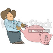 Farmer Man Pulling a Fat Pink Pig by the Hind Legs Clipart Picture © Dennis Cox #12427