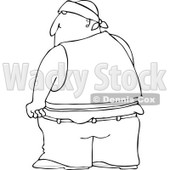 Clipart of a Black and White Rear View of a Gang Banger in Low Pants - Royalty Free Illustration © djart #1242869