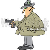 Clipart of a Chubby Caucasian Private Investigator Man Holding a Pistol - Royalty Free Vector Illustration © djart #1242881