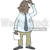 Clipart of a Confused African American Businessman Scratching His Head - Royalty Free Vector Illustration © djart #1243196