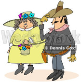 Clipart of a Cowboy and Chubby Caucasian Woman in a Spring Bonnet Couple - Royalty Free Illustration © Dennis Cox #1243201