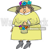 Clipart of a Chubby Caucasian Woman in a Green Dress and Spring Flower Bonnet - Royalty Free Vector Illustration © Dennis Cox #1243203