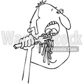 Clipart of a Black and White Man Eating Spaghetti - Royalty Free Vector Illustration © djart #1243841