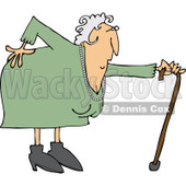 Clipart of a Caucasian Granny with a Bad Back and Cane - Royalty Free Vector Illustration © djart #1243845