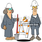 Clipart of Male and Female Construction Workers at a Manhole - Royalty Free Illustration © Dennis Cox #1243847