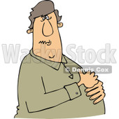 Clipart of a Caucasian Man with Heartburn, Holding His Chest - Royalty Free Vector Illustration © djart #1243848