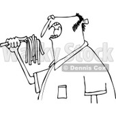 Clipart of a Black and White Hungry Man Eating Spaghetti - Royalty Free Vector Illustration © djart #1244182
