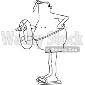 Clipart of a Black and White Long Legged Man Holding an Inner Tube - Royalty Free Vector Illustration © djart #1244184