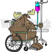 Clipart of an Injured Hospital Patient Moose in a Wheelchair with an Iv - Royalty Free Vector Illustration © Dennis Cox #1244187